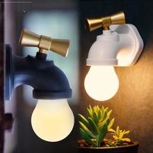 цена на Voice Control LED Night Light Faucet Shape Lamp 3 Mode Mini USB Rechargeable Tap Wall Night Light for Kid Bedroom Toilet