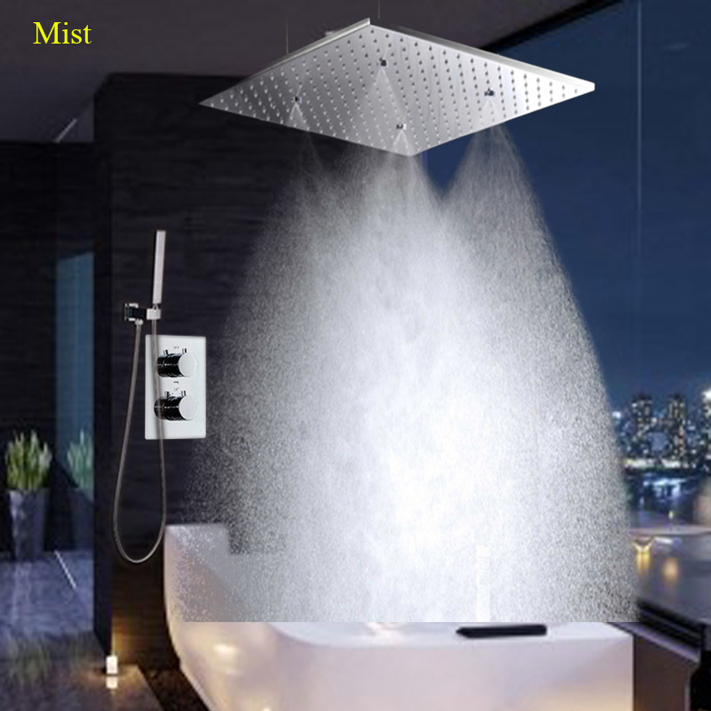 Showers 20\ Rainfall Showerhead Polished Panel And Embedded Box Concealed Thermostatic Controller Mixer 3Way Mist SPA Shower Set