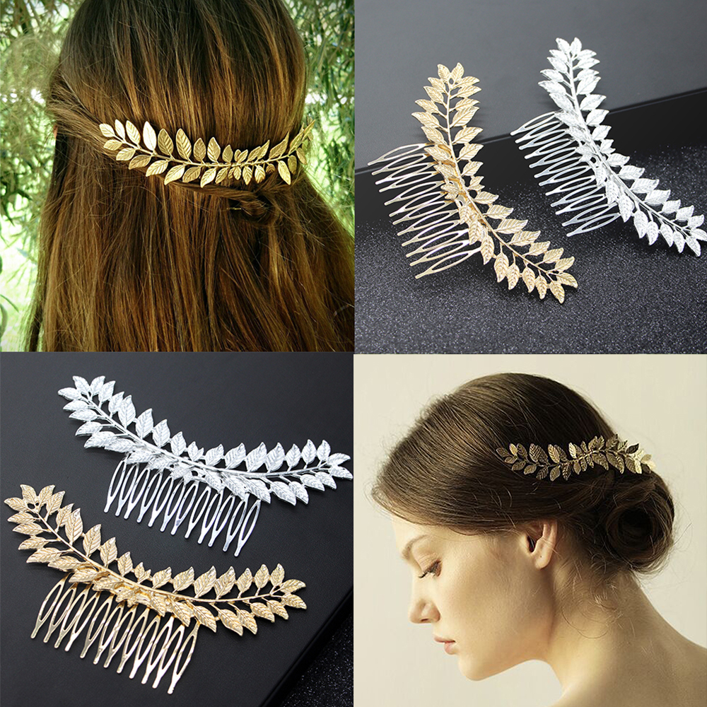 Greece Bridal Leaf Hair Comb Silver Gold Metal Headpiece Wedding Party Headband Hair Pins Accessories Hair Jewelry
