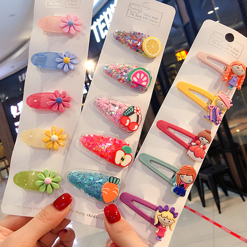 5Pcs/set Cartoon Fruit BB Hair Clips For Girls PVC Frosted Hollow Oval Hair Pins Kids Baby Hairpin Barrettes Hair Accessories