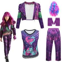 Kids Clothes Anilnc Descendants 3 Jacket Evie Deep Purple Long Wave Wig Child Role Playing Jacket Vest Pants Children Halloween