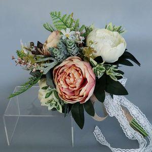 Image 3 - Europese Vintage Bridal Wedding Boeket Kunstmatige Dusty Pioen Bloemen Nep Vetplant Kant Lint Bruidsmeisje Party Decor