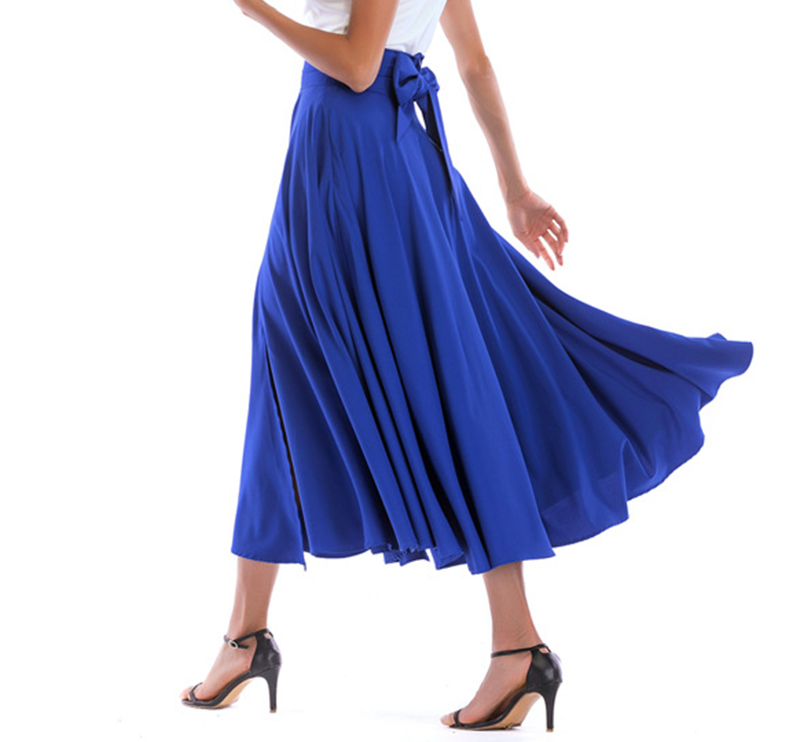2020 New Fashion  Women Long Skirt Casual Spring  Summer Skirt womens Elegant Solid Bow-knot A-line Maxi Skirt Women Cothes (22)
