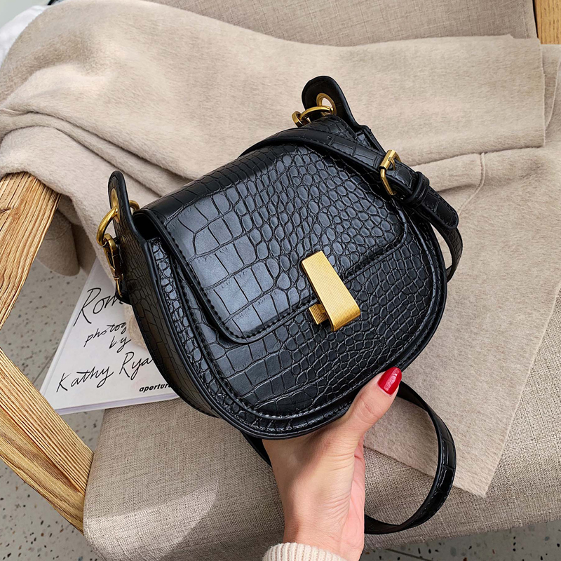 Stone Pattern Pu Leather Saddle Bags For Women 2020 Mini Crossbody Messenger Bag Female Travel Handbags