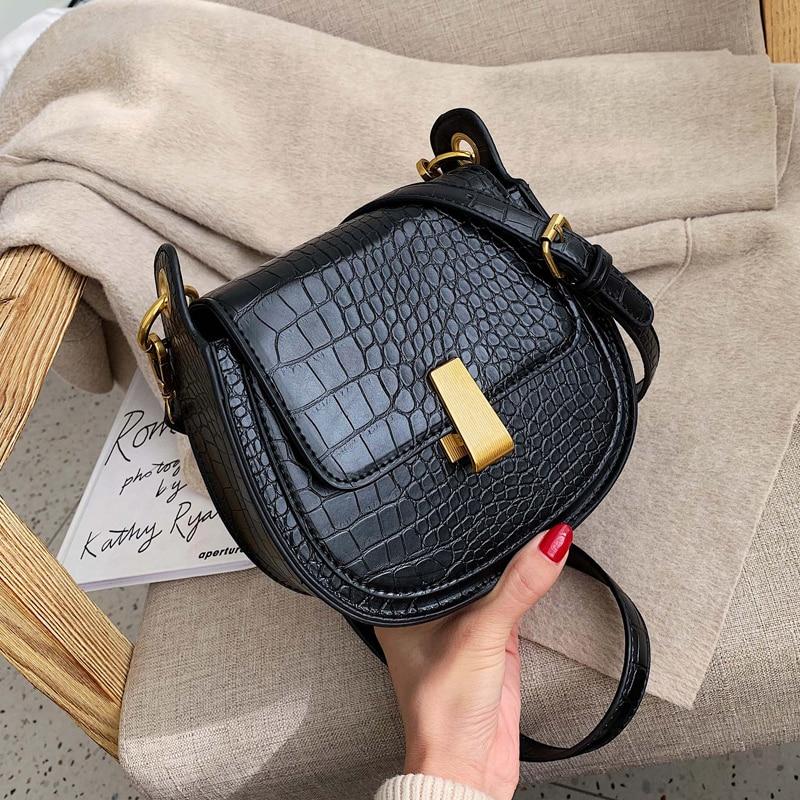 Stone Pattern Pu Leather Saddle Bags For Women 2020 Mini Crossbody Messenger Bag Female Travel Handbags