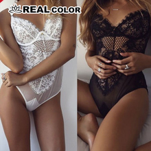 2019 New Sexy Bodysuit Womens Hollow Out Black Lace Bodysuit White Jumpsuit Over