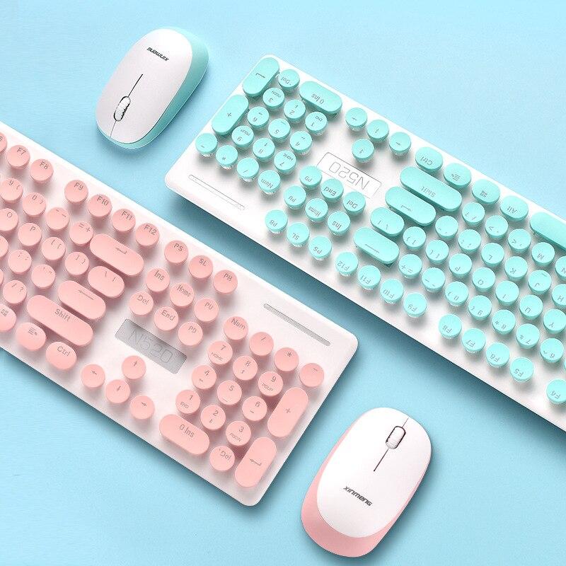 Technologie N520 Drahtlose Punk Maschinen Handfeel Tastatur Und Maus Set Büro Business Girl'S Maus Und Tastatur