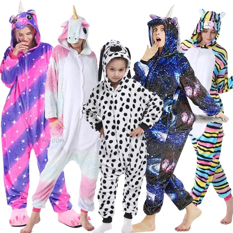 Adults Animal Unicorn Pajamas Onesies For Women Flannel Sleepwear Kigurumi Stitch Panda Cat Dog Pyjamas Kids Costumes Jumpsuit