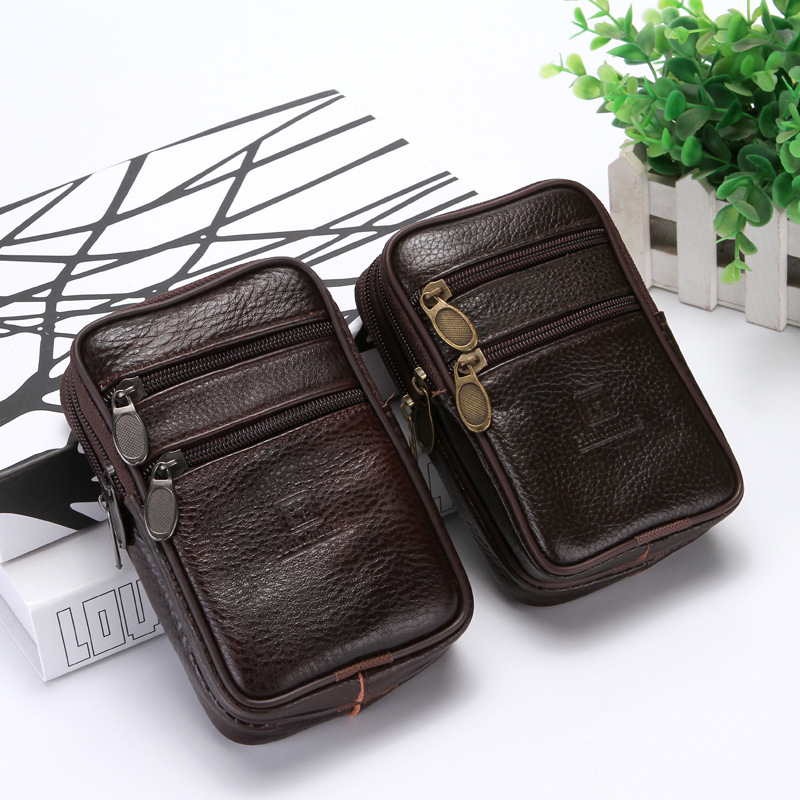 BISI GORO On The Belt Multi-function Phone Coin Card Men Travel Bag Cow Leather Outdoor Waist Bag Wear-resistant Heuptas Heren