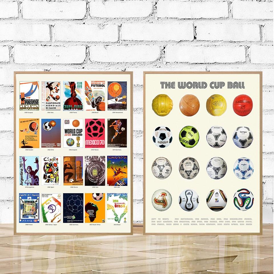 Настенный постер с изображением исторического Кубка мира, Картина на холсте с изображением футбольного мяча, минимализм, современная карти...