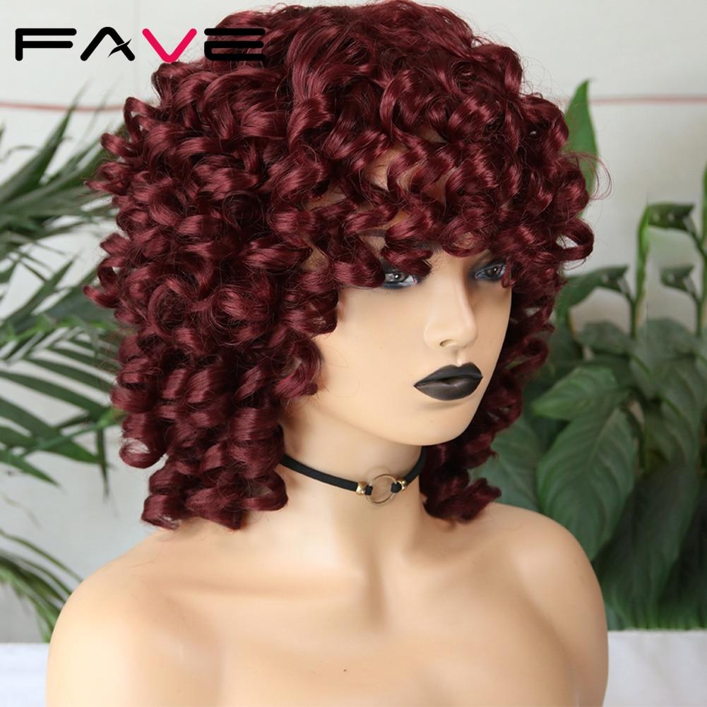 Fave loira kinky encaracolado peruca sintética com