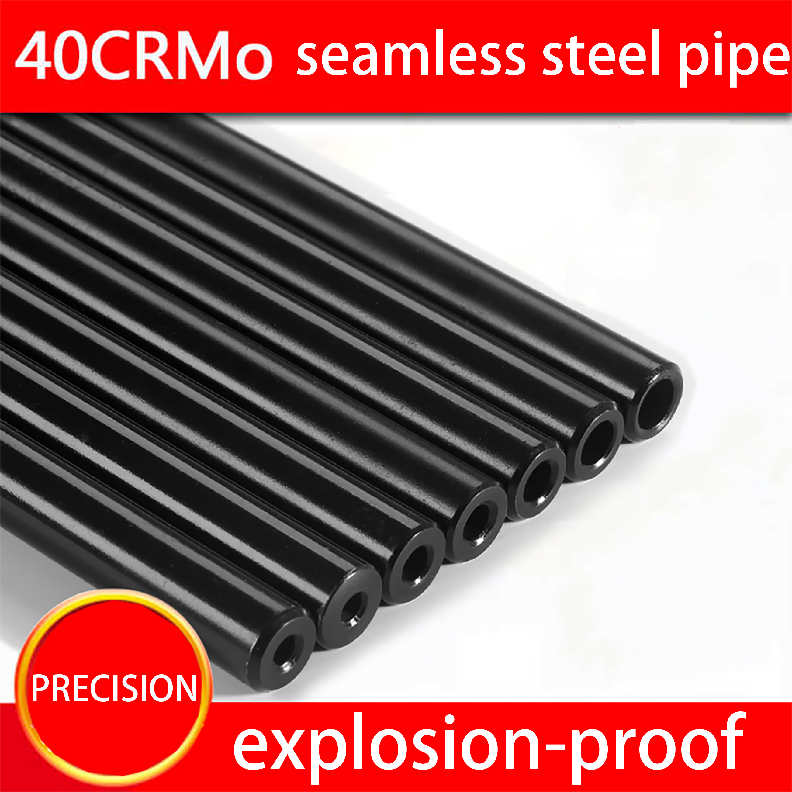 12mm O/D Seamless Steel Pipe Hydraulic Alloy Precision Steel Tubes  Explosion-proof Tool Part Print Black