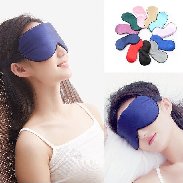 1pcs Eye Cover Silk Sleep Eye Mask Sleeping Padded Shade Patch Eyemask Blindfolds Women Men Travel Relax Rest 1