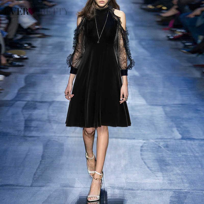 סקסי Velour שמלות קוקטייל פעם די אונליין ארוכות תחרה שרוול קצר פורמליות שמלות המפלגה Vestidos דה Coctel 2019
