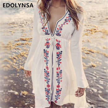 New Arrivals Beach Cover up Embroidery Vintage Swimwear Ladies Tunics Kaftan Beach Dress Beach Wear Women Robe de Plage #Q17 - Category 🛒 Sports & Entertainment