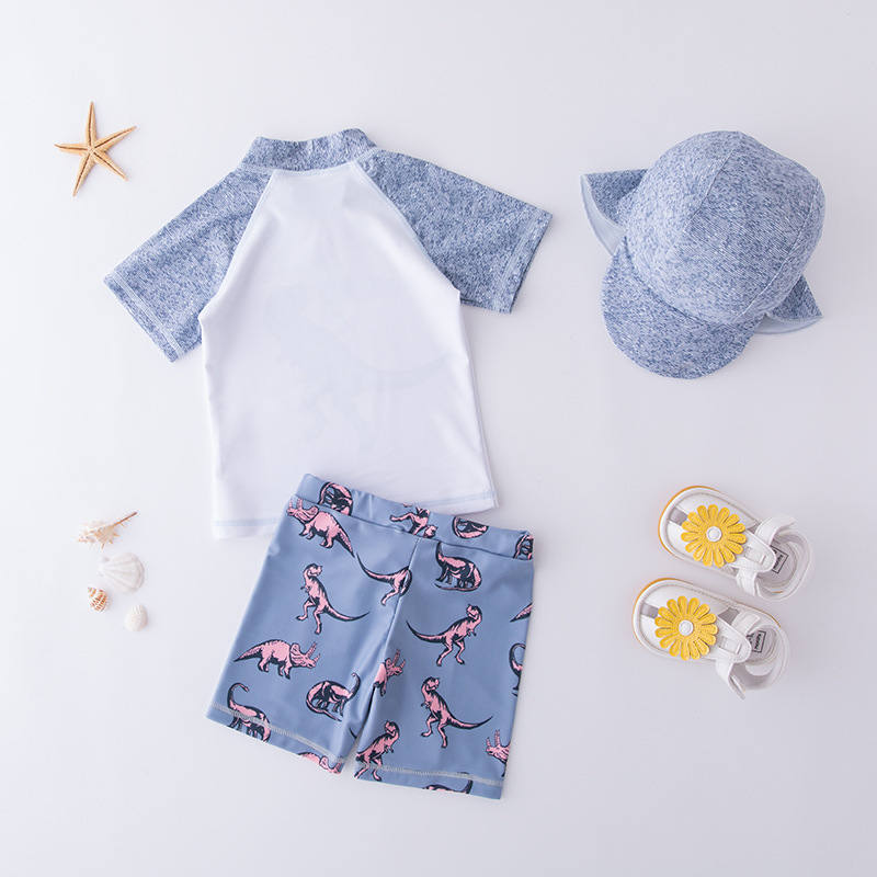 Men's Two-piece Swimsuits Short Sleeve Greyish Blue Dinosaur Hooded-KID'S Swimwear Hot Springs Clothing