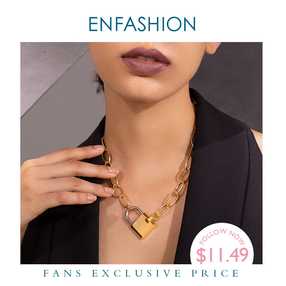 ENFASHION Big Lock Link Chain Choker Necklace Women Gold Color Stainless Steel Femme Pendant Necklaces Fashion Jewelry P193040(China)