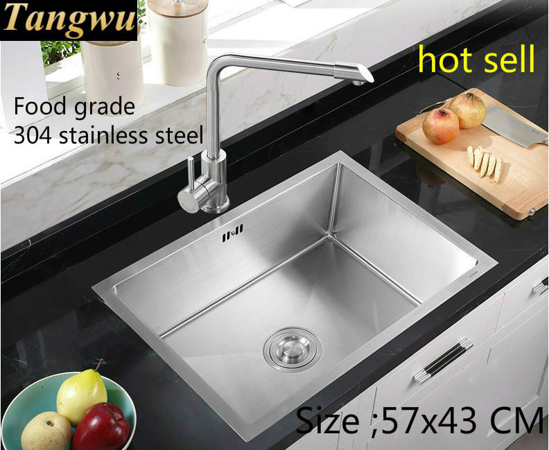 Free Shipping Apartment Standard Kitchen Manual Sink Single Trough Durable 304 Stainless Steel Hot Sell 57x43 CM
