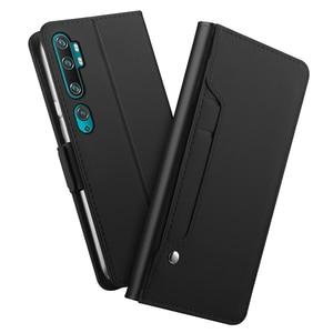 Image 1 - Cho Xiao Mi Mi Note 10 Ốp Lưng Da PU Ví Cấp Kiểu Ví Bao Da Với Mi Rror Cho Xiao Mi mi CC9 Pro Khe Cắm Thẻ Cao Cấp