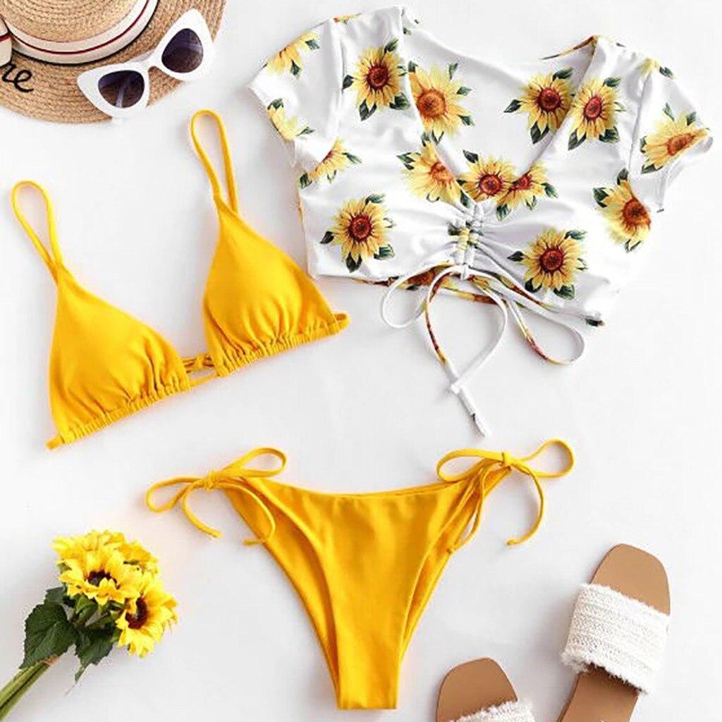 Three Piece Bikini Women Print Sunflower Set Swimsuit Filled Bra sexy bikini set swimwear 2020 купальники для женщин|Bikini Set|   - AliExpress
