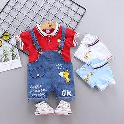 Летняя одежда для маленьких мальчиков от 0 до 4 лет, костюм с коротким рукавом, одежда для мальчиков, футболка с лацканами и мультяшным рисунк...
