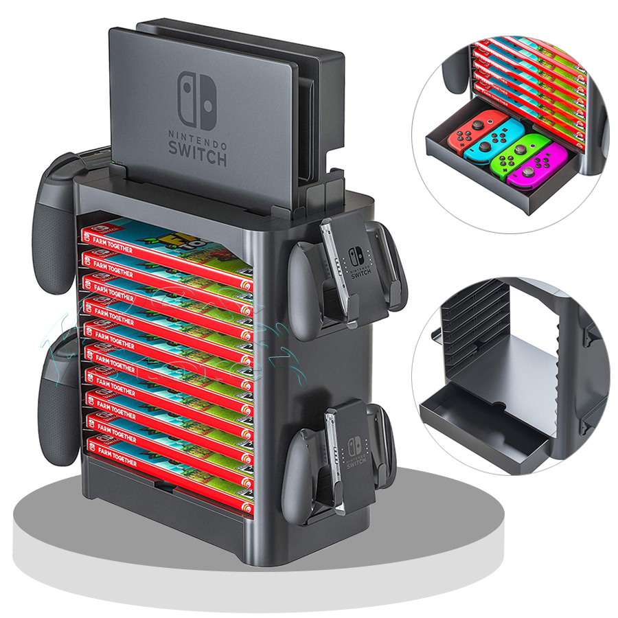 Nintendo przełącz akcesoria uchwyt do przechowywania gra płyta karta wieża Joy con PRO uchwyt kontrolera Nintendoswitch stojak na konsolę
