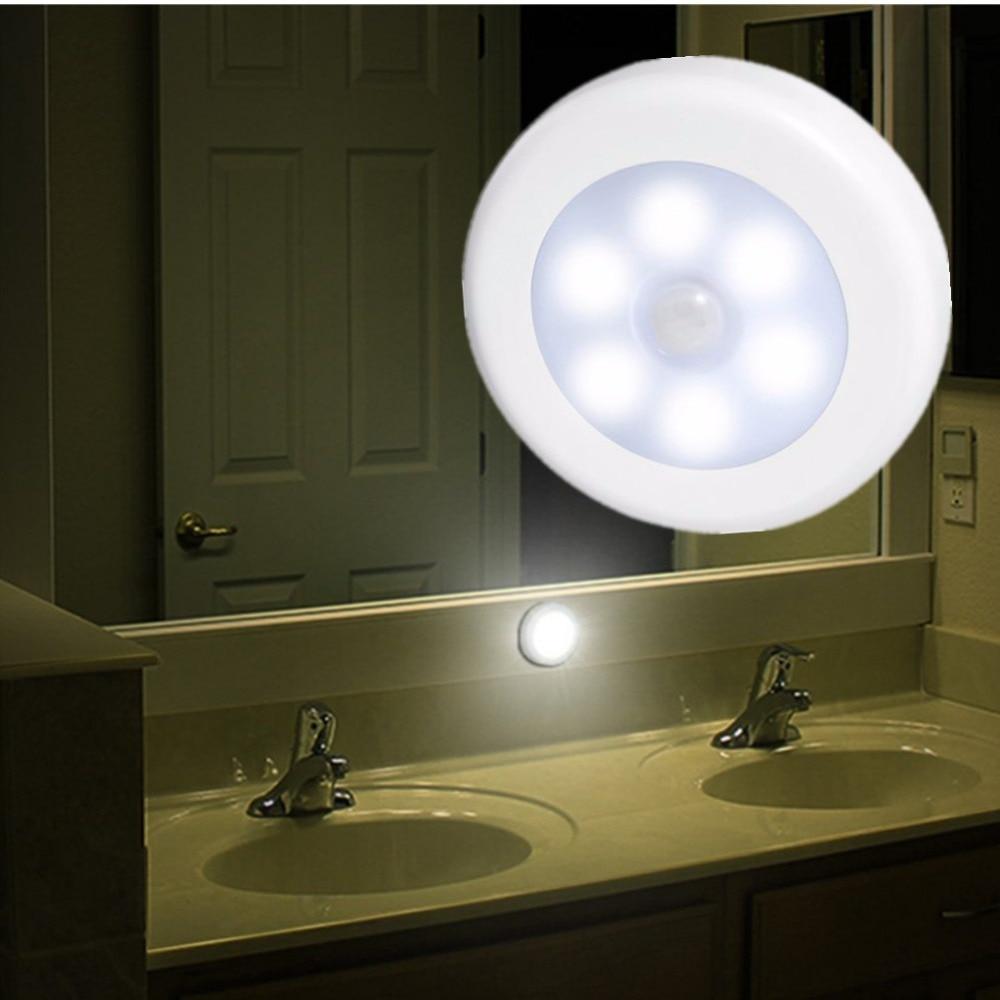 6 LED Night Light Magnetic Wireless Detector Light Wall Lamp Infrared PIR Motion Sensor Light Auto On/Off For Cabinet Stair