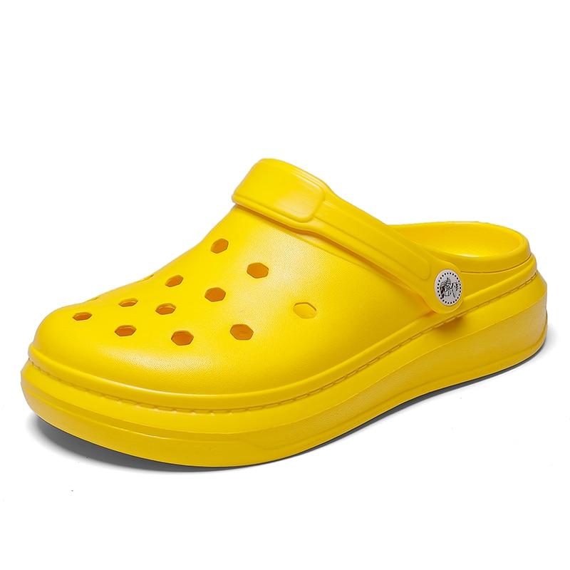 Summer Casual Sandals Men High Platform 2020 New Beach Slippers Breathable Hole Flats Crocse Male Clogs Water Shoes Men Sandals