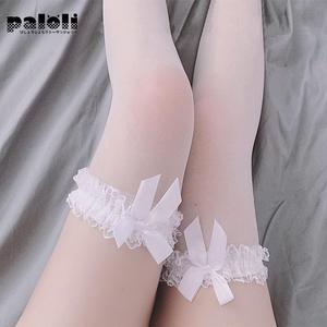 Paloli, выше колена, белый бант, сексуальные, на подтяжках, шелковые, до бедра, милый чулок горничной прозрачные чулки, чистый Прекрасный Бант