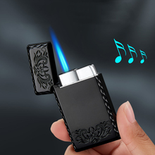 Gas Lighters Windproof Straight Blue Flame Cigar Creative Metal Lighter Rolling Tray Cigarette Machine Lighters Gadgets for Men недорого