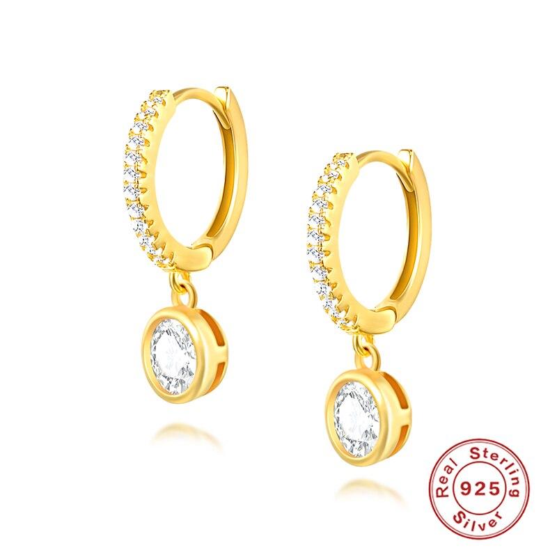 ROXI Simple Round Circle Crystal Hoop Earrings Gold Silver Pendientes 925 Sterling Silver Chic AAAAA Zircon Stone Women Earrings