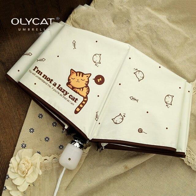 OLYCAT Paraguas automático de la lluvia de las mujeres gato plegable paraguas a prueba de viento negro revestimiento Anti UV sombrilla mujeres paraguas de chica