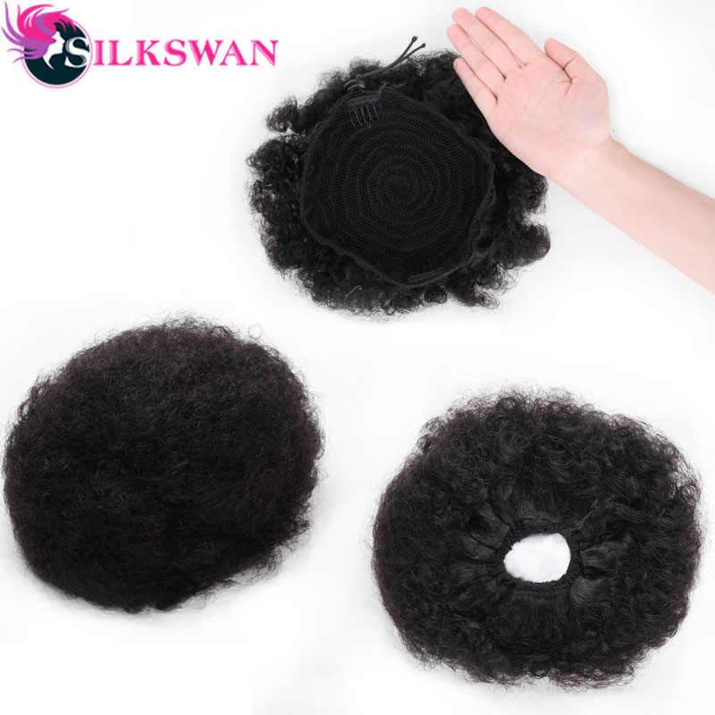 Silkswan Afro Puff rizado Cola de Caballo Remy Clip en cola de caballo cordón Natural Black100 % extensión de cabello humano para mujer