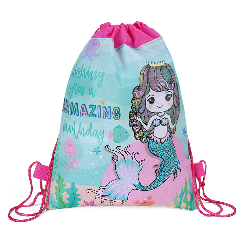 12pcs/lot Mermaid Drawstring Bag For Girls Travel Storage Package Cartoon School Backpacks Children Random Color