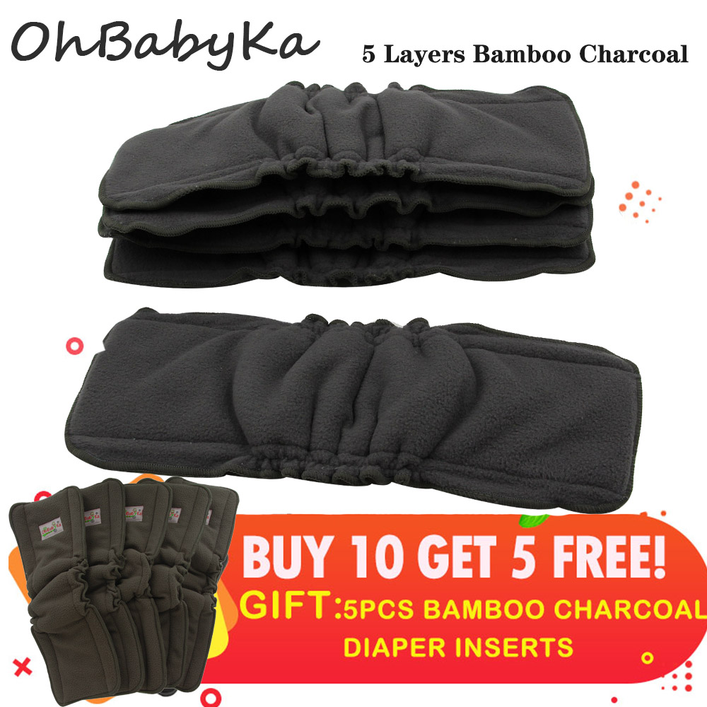 Cloth Diaper Inserts 5 Layer Ohbabyka Charcoal Bamboo Reusable Diaper Liners With Gussets Reusable Liners For Baby Cloth Diaper
