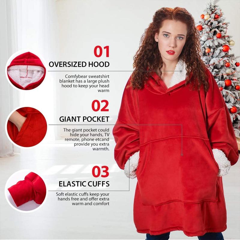 Oversize Hoodie Sofa Warm TV Blankets with Pocket Outdoor Hiking Hooded Sweatshirt Blanket-2