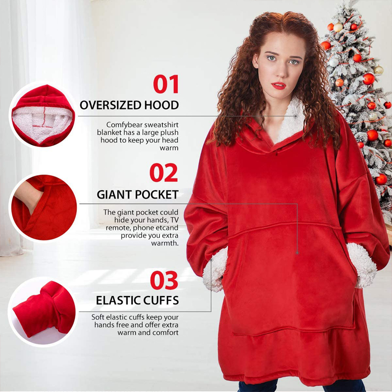 Winter Warm TV Pocket Hooded Blankets Adults Bathrobe Sofa Cozy Blanket Sweatshirt Plush Coral Fleece Blankets Outwears-3