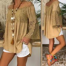 Large size loose women's blouse 2020 summer women blouses tops casual solid color lace word collar  trumpet sleeve ladies shirt