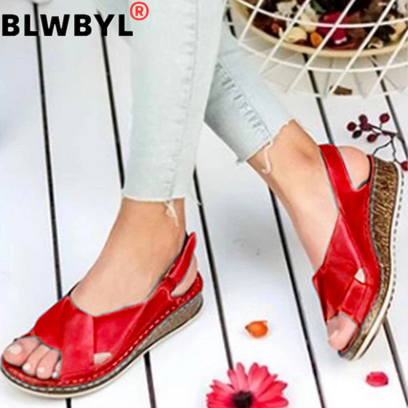 Women Sandals Summer 2020 Female Shoes Woman Peep-toe Wedge Comfortable Sandals Slip-on Flat Sandals Female Sandalias