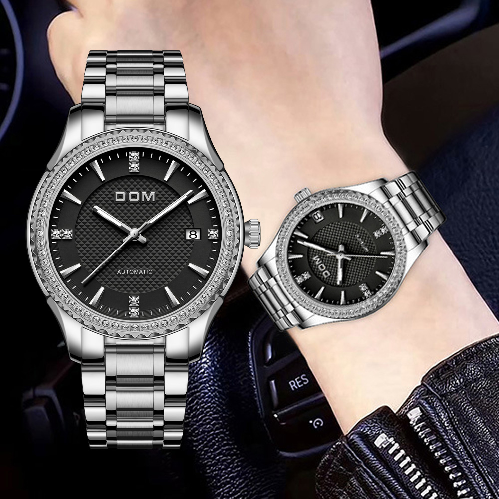DOM automatic mechanical watchfashion men's watch luminous couple watch business waterproof stainless steel female watch sports