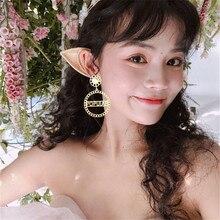 Women Female Vintage Long Big Dangle Drop Earrings Fashion Hyperbolic Pearl Letters Word Metal Earrings Jewelry Wholesale-MS-W17