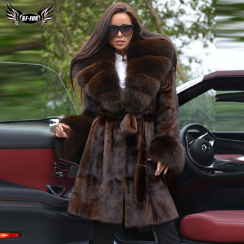 Fashion Winter Real Mink Fur Coat For Women With Big Fox Fur Lapel Collar Thick Warm Genuine Mink Fur Jacket Long With Fur Belt kids real mink fur coat baby winter warm colourful mink fur coat child mink fur clothes kids warm jacket