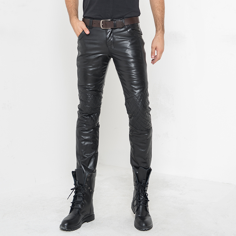 Genuine Leather Pants Men's Real Cow Cowhide Motorcycle Biker Windbreak Thick Warm Cotton Down Autumn Winter Male Trousers