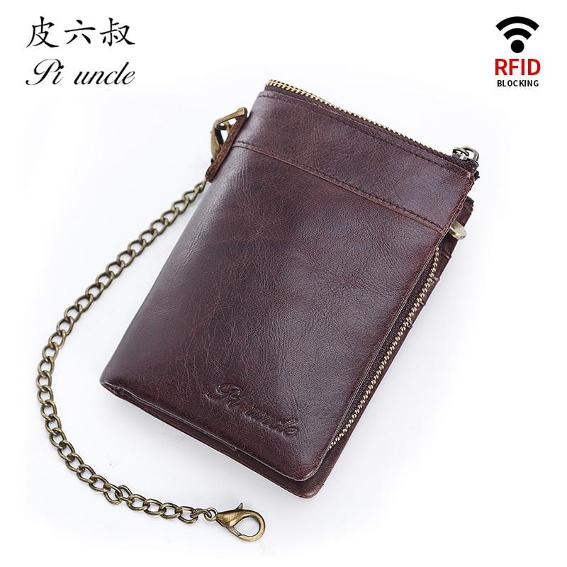 PI UNCLE Brand MOTO Style Metal Chain Wallets RFID Genuine Leather Men's Short Zipper Pocket Wallet Men Cardholder Purse