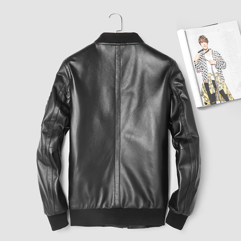 Mens Leather Jacket Spring Autumn Genuine Leather Sheepskin Coat Motorcycle Bomber Jacket Men Clothes 2020 3906 KJ2993