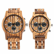 Luxury Chronograph Dial Wood Watch for Couple Wood + Stainless Steel Bangle Lover Quartz Wristwatch Folding Clasp