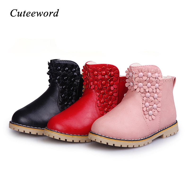 Children's Shoes For Girls Boots Leather Flowers Casual Princess Shoes Winter Boots For Girls Shoes Warm Plus Velvet Kids Shoe