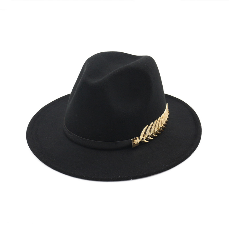 Winter Felt Jazz <font><b>Hat</b></font> Women Men Imitation Wool Fedora <font><b>Hat</b></font> 60cm Plating Leaf PU Leather Band Classical Flat Brim Cloche Cap image