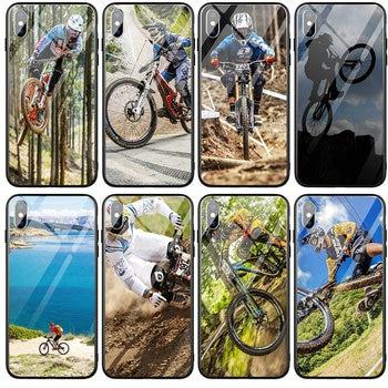 Carcasa de cristal templado para iphone 7, 5, 5S, SE, 6S, 6, 8 Plus, X, XR, XS, 11 Pro, Max Racing, ciclismo Team