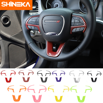 SHINEKA Interior Accessories For Dodge Challenger 2015+ Car Steering Wheel Decoration Cover Stickers For Dodge Charger 2015+ 1